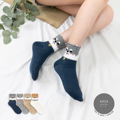 阿華有事嗎  韓國襪子 立體耳朵毛毛柴犬全版中筒襪 韓妞必備 正韓百搭純棉襪
