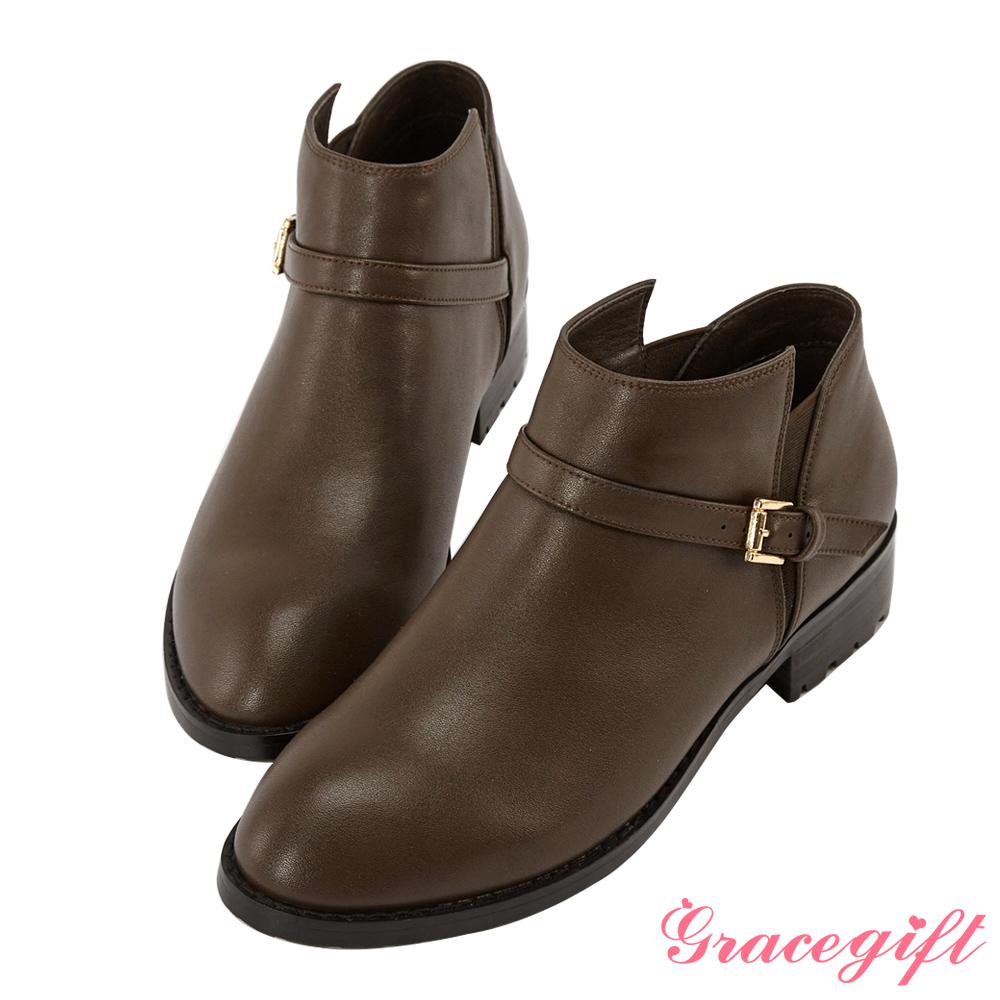 Grace gift-側鬆緊帶釦及踝短靴 深咖