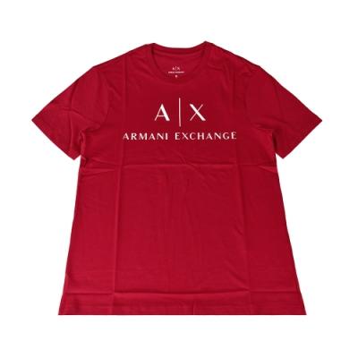 A│X Armani Exchange經典字母LOGO造型純棉短T(XS/S/M/L/紅x白字)