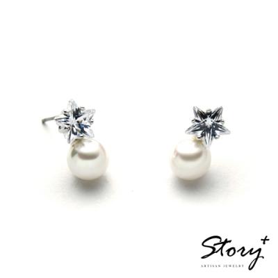 STORY故事銀飾-氣質時尚耳環-Star珍珠晶鋯耳環