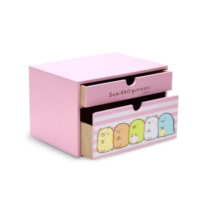 CY本舖 Sumikko gurashi 角落小夥伴 橫式雙抽盒 桌上收納 文具收納 飾品收納-粉