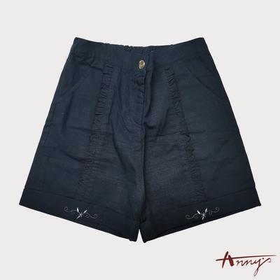 Annys安妮公主-氣質荷葉邊壓褶春夏款刺繡純棉短褲*0185藍色