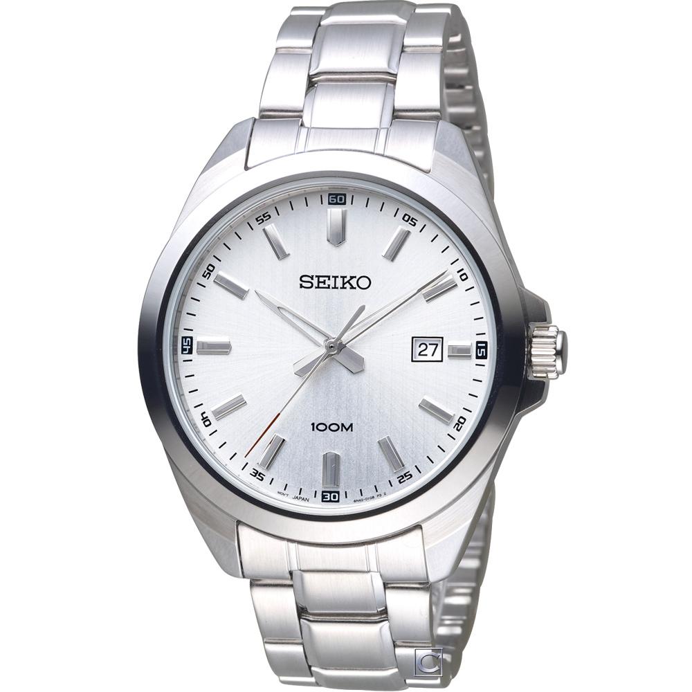 SEIKO 精工 時尚紳士腕錶(SUR273P1)白/42mm