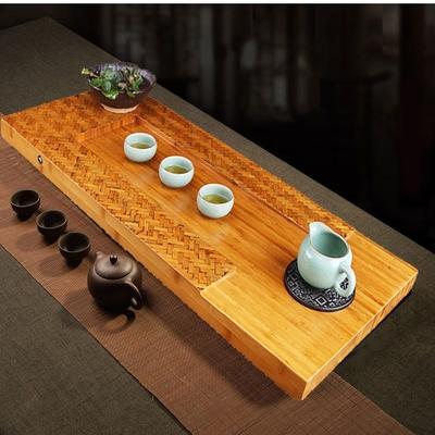 【原藝坊】韵雅古樸 老竹蓆 孟宗竹制茶盤 抱月 款 (含烏金石盤)