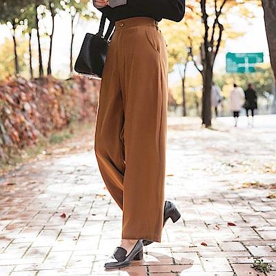 腰頭設計純色西裝直筒褲-OB大尺碼