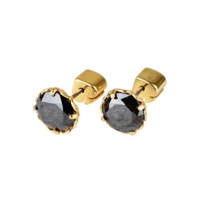 kate spade The Sparkle黑桃LOGO圓形設計鑽鑲飾穿式耳環(金x黑)