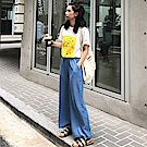 La Belleza鬆緊腰車線側口袋牛仔闊腿褲寬管牛仔褲