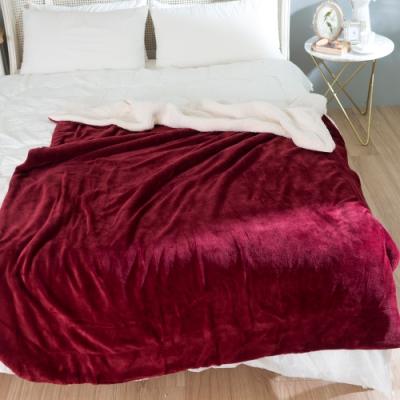 eyah宜雅 法式馬卡龍雙面加厚法蘭絨羊羔絨毯2入組 紅