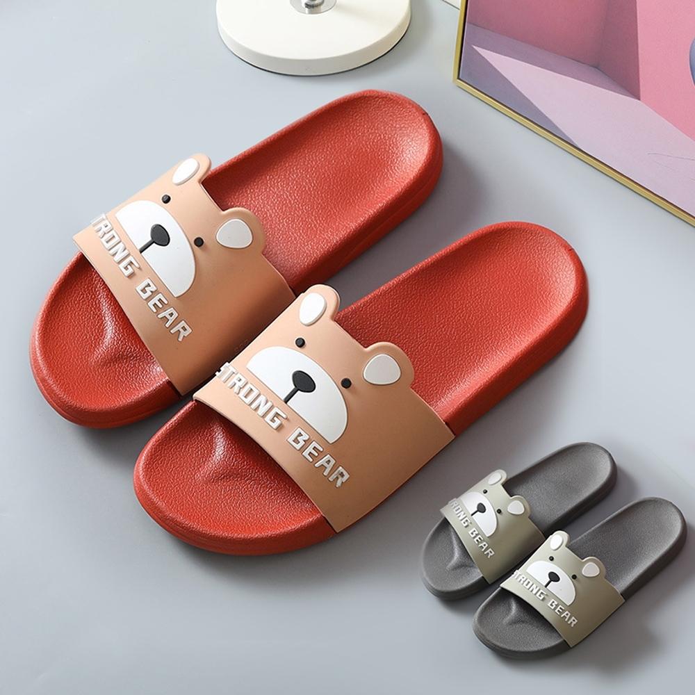 BUNNY LIFE 小熊造型防滑室內拖鞋浴室拖鞋(女/男款) (紅色)