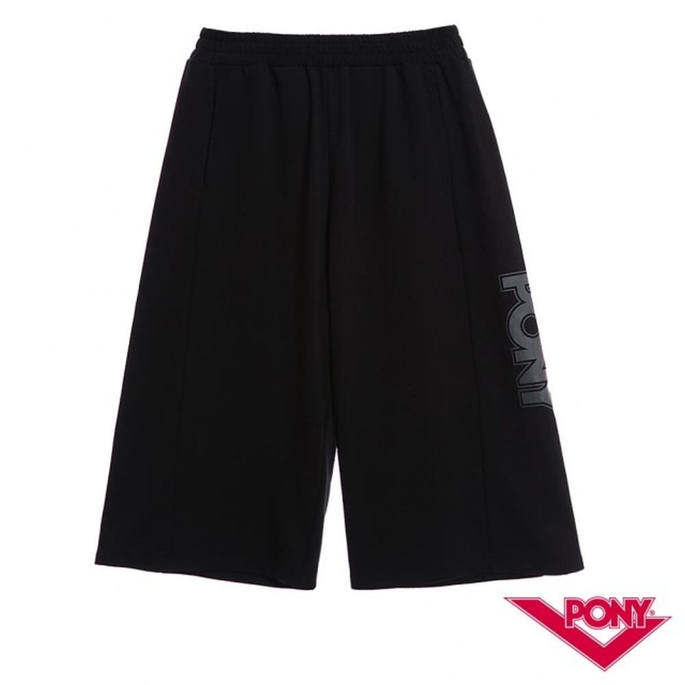 【PONY】運動風格休閒彈性棉質短褲-女-黑