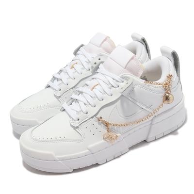 Nike 休閒鞋 Dunk Low Disrupt 運動 女鞋 基本款 解構 質感 皮革 球鞋穿搭 全白 DO5219-111