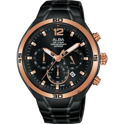 ALBA 雅柏 IG廣告款 型男計時錶(AT3G36X1)-黑44mm