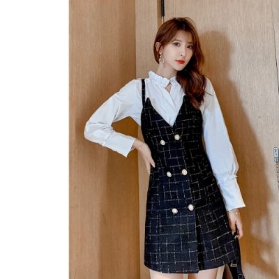 2F韓衣-韓系小香風雙排扣上衣連身裙裝-新-黑(S-XL)