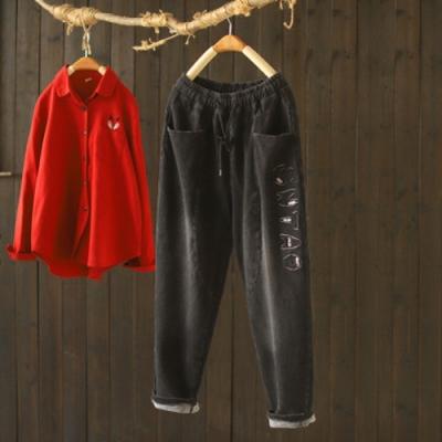 黑色棉質刺繡抽繩鬆緊腰加絨寬鬆哈倫長褲-設計所在