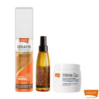 LOLANE 髮質完美重建套組-乾燥及老化受損 (乾燥受損髮膜、角蛋白精華液、摩洛哥油)