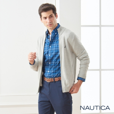 Nautica經典素面立領細針織衫外套-淺灰