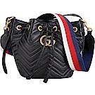 GUCCI GG Marmont 山形絎縫皮革束口水桶包(黑色)