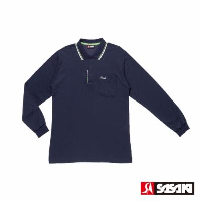 SASAKI 棉質吸濕排汗功能運動休閒長衫-男-丈青/艷綠