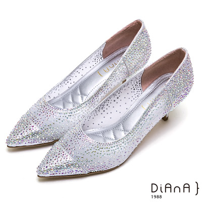 DIANA光彩耀眼細網鏤空水鑽鞋(婚鞋推薦)-璀璨華麗-銀