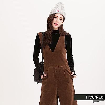 H:CONNECT 韓國品牌 女裝 - 設計綁帶連身寬褲-棕(快)