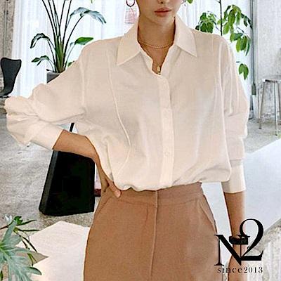 襯衫 正韓緞面雪紡車線造型薄長襯衫(白色) N2