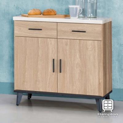 漢妮Hampton華莉絲黃橡木2.7尺仿石面碗櫃下座-81.3x43x81.4cm
