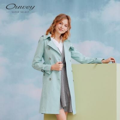 OUWEY歐薇 粉彩雙排釦長版風衣(粉/綠)