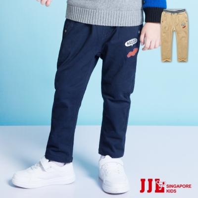 JJLKIDS 經典素色小徽章直筒內刷毛休閒長褲(2色)