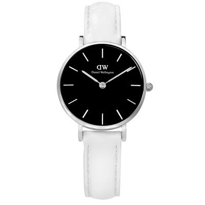 DW Daniel Wellington 經典真皮手錶-黑x白/28mm
