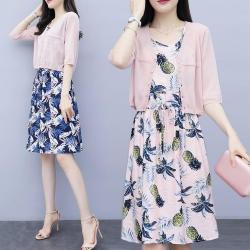 中大尺碼粉色薄針織外套鳳梨印花背心裙套裝XL~4L-Ballet Dolly