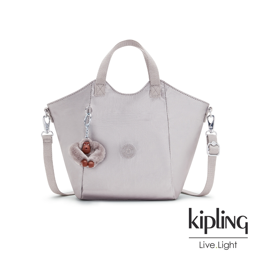 Kipling 知性光澤銀灰輕盈手提斜背包-NORI