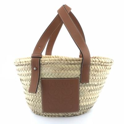 LOEWE Small Basket 小款 棕櫚葉拼小牛皮 托特包 編織包 草編包 原色/棕褐色