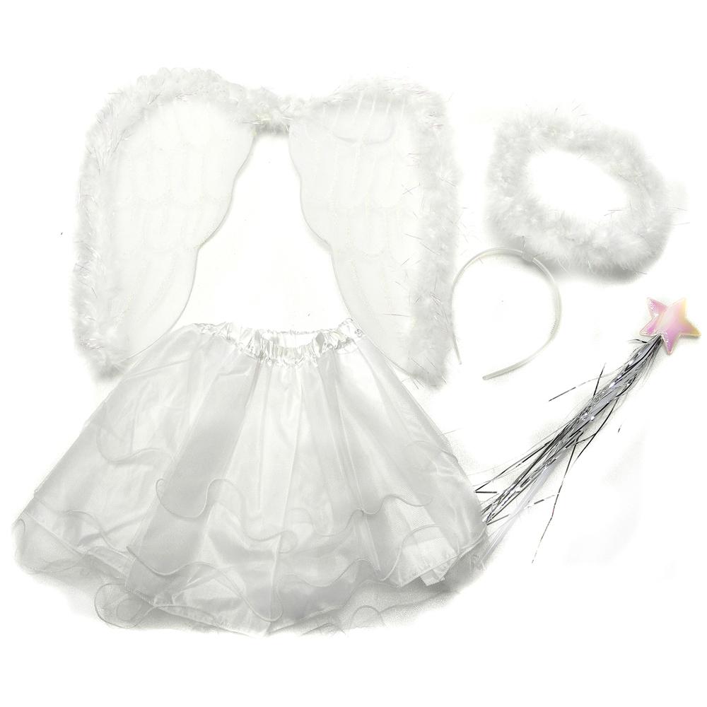 摩達客 萬聖節派對-白色天使羽毛翅膀仙子裝四件組合 (幼兒適用)(裙子/髮箍/手杖/翅膀)