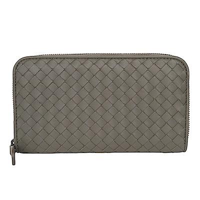 BOTTEGA VENETA 經典小羊皮編織拉鍊長夾 (灰色)