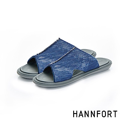 HANNFORT COZY可機洗帆布氣墊拖鞋-男-水洗藍