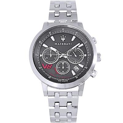 MASERATI 瑪莎拉蒂GT環保太陽能三眼計時手錶-灰X銀/44mm