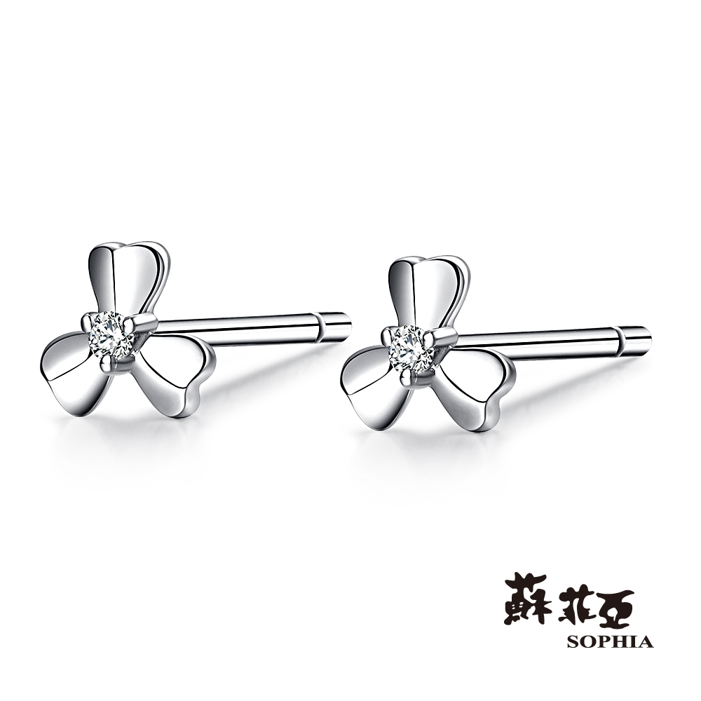 SOPHIA 蘇菲亞珠寶 - 愛的花語 14K玫瑰金 鑽石耳環