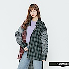 H:CONNECT 韓國品牌 女裝-格紋拼接長版襯衫-黑