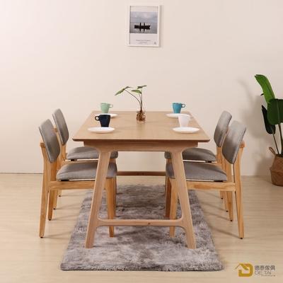 D&T 德泰傢俱 Nova北歐時尚北美松木椅(原木色+淺灰色貓抓皮)寬45X深51X高79公分