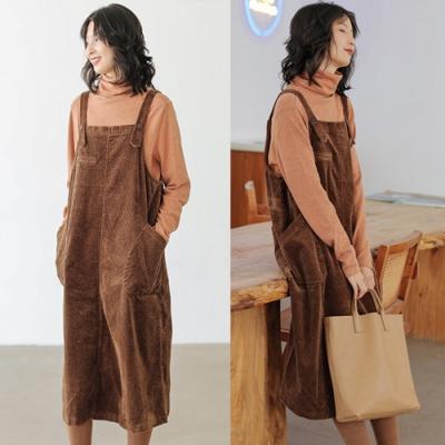 吊帶裙-純棉燈蕊絨長版洋裝-設計所在