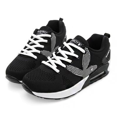 PLAYBOY玩樂主義 經典綁帶氣墊休閒鞋-黑白