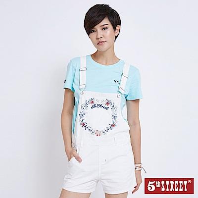 5th STREET 春漾繡花休閒吊帶短褲-女-白色