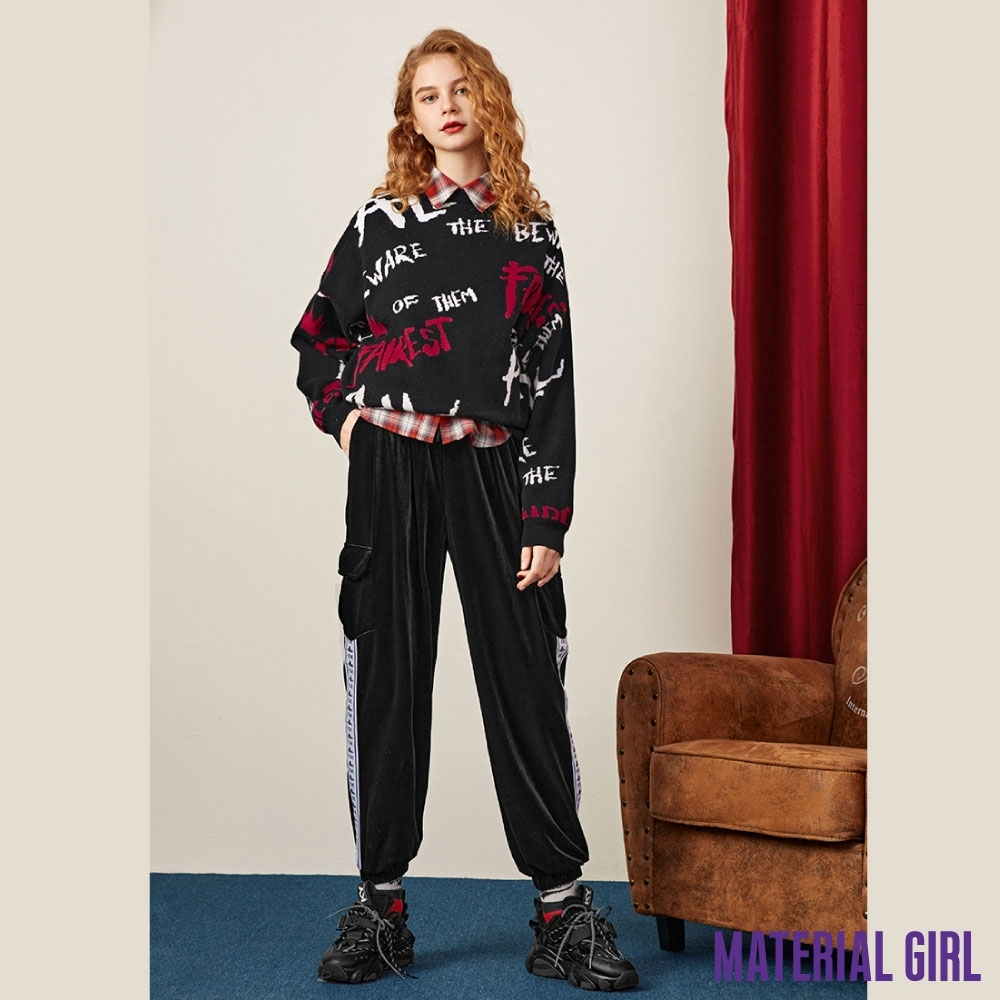 MATERIAL GIRL 滿版字母緹花反派撞色針織衫【春季新品】-A461289