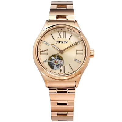 CITIZEN 星辰表 自動上鍊施華洛世奇水晶機械錶不鏽鋼手錶-鍍玫瑰金/34mm @ Y!購物