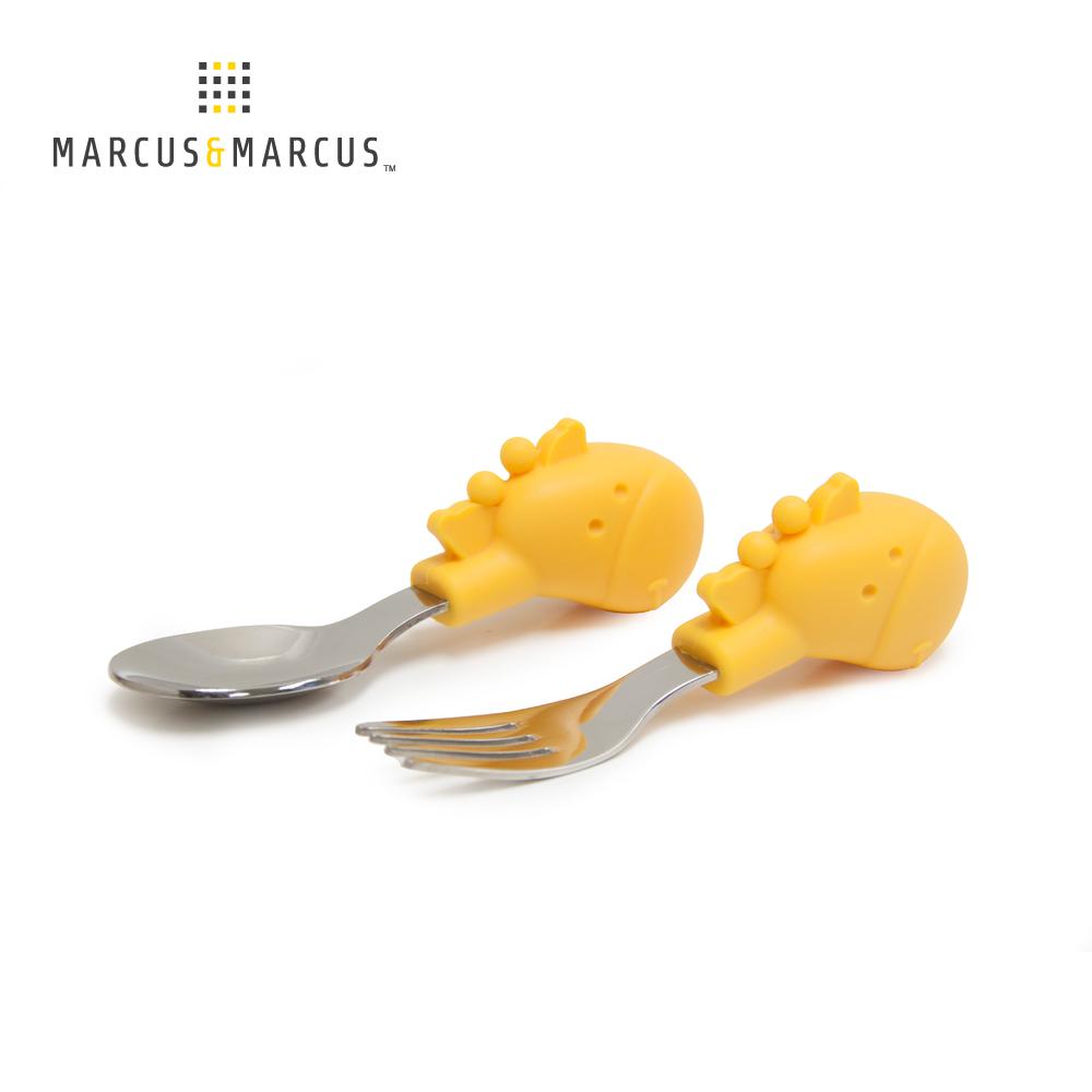 【MARCUS&MARCUS】動物樂園寶寶手握訓練叉匙-長頸鹿(黃)