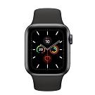 [無卡分期-12期]Apple Watch S5(GPS) 40mm太空灰鋁金屬錶殼+黑色運動錶帶