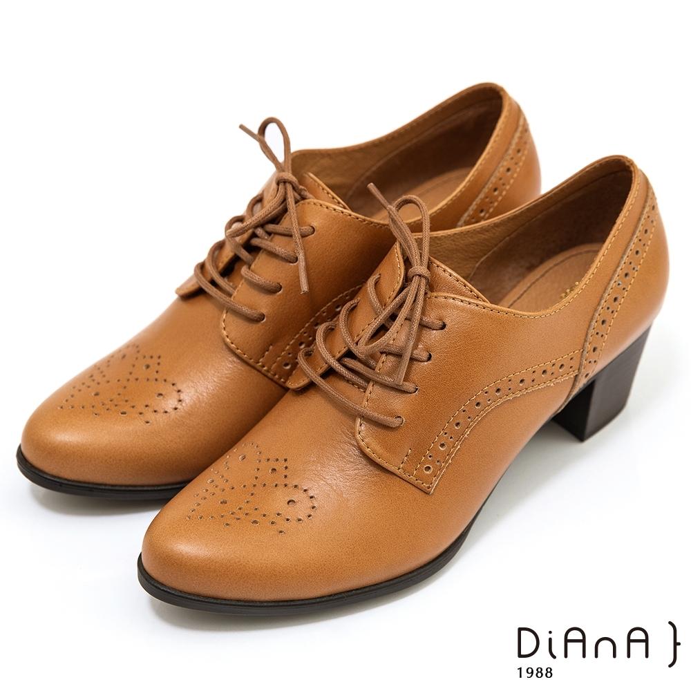 DIANA 3cm質感雙色牛皮極簡素面低跟樂福鞋-漫步雲端焦糖美人-榛果棕