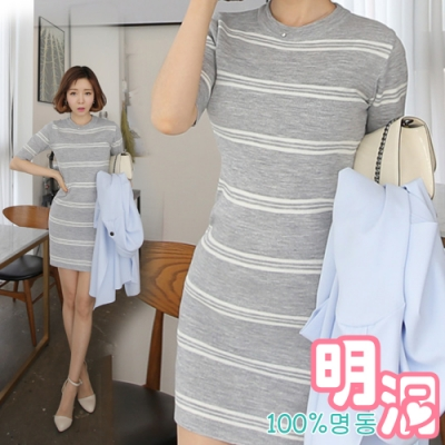 正韓 針織條紋圓領五分袖洋裝 (共三色)-100%明洞