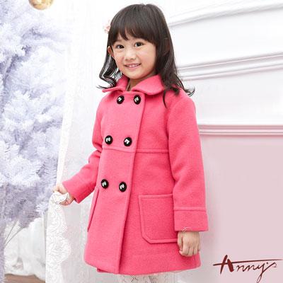 Annys高級皇家精緻蝴蝶結釦雙口袋毛料大衣*5680桃粉