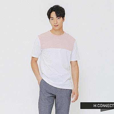 H:CONNECT 韓國品牌 男裝-簡單撞色棉T-shirt-白